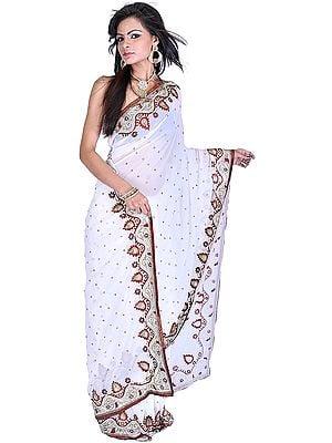 Chic-White Wedding Sari with Embroidered Bootis and Zardozi Border