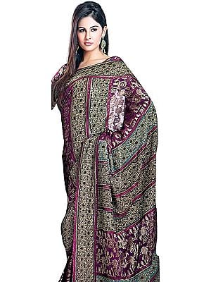 Festival Fuchsia Designer Sari with All-Over Thread Embroidered Flowers and Sequins