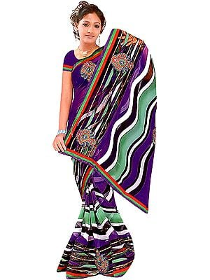 Multi-Color Printed Leheria Sari with Embroidered Bootis