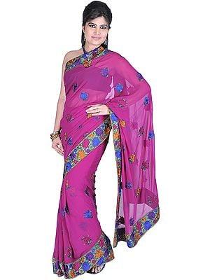 Fuchsia-Red Designer Sari with Parsi Embroidered Floral Border