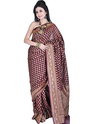 Cordovan Banarasi Sari with All-Over Woven Bootis and Brocaded Aanchal