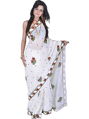 Chic-White Designer Sari with Ari-Embroidered Flowers in Multi-Color Thread and Sequins