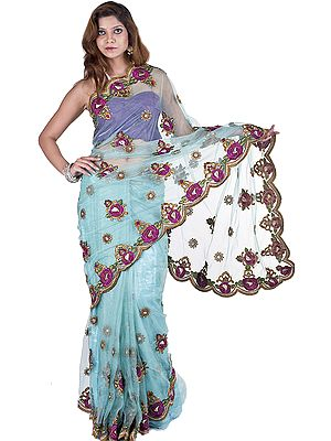 Aqua-Sky Designer Sari with Meatallic Thread Embroidered Flowers and Beads