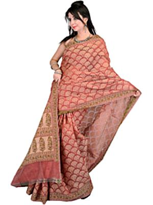 Kora Cotton Sari from Banaras with All-Over Floral Weave by Hand