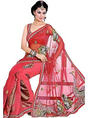 Holly-Berry Sari with Metallic Thread Embroidered Paisleys and Sequins