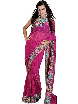 Fuchsia-Red Wedding Sari with Crewel Embroidered Flowers and Sequins