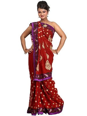 Tango-Red Bridal Sari with Embroidered Paisleys All-over