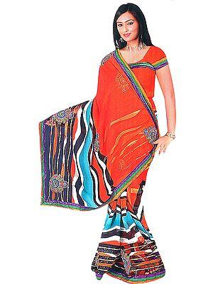 Golden Oak Printed Leheria Sari with Embroidered Bootis