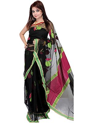 Black Sari with Woven Flowers and Plain Border