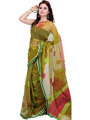 Cress-Green Sari with Woven Flowers with Plain Border