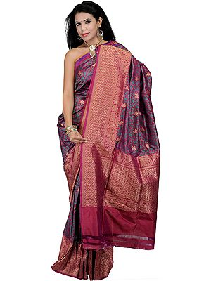 Festival-Fuchsia Banarasi Jamdani Sari with Hand-Woven Flowers and Brocadaed Aanchal