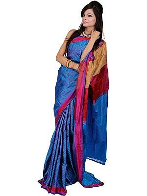 Meadow-Violet Hand-woven Banarasi Sari and Jute Weave on Aanchal