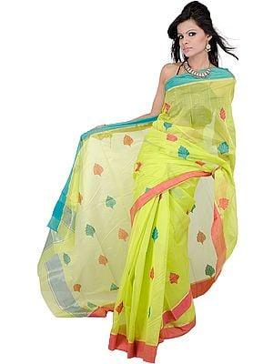 Lime Punch-Green Chanderi Sari from Madya Pradesh with Hand Woven Bootis