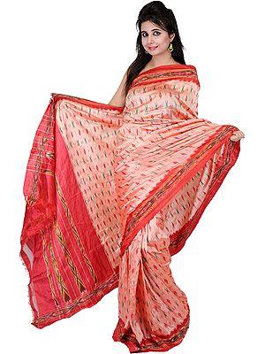 Coral-Pink Ikat Sari from Pochampally