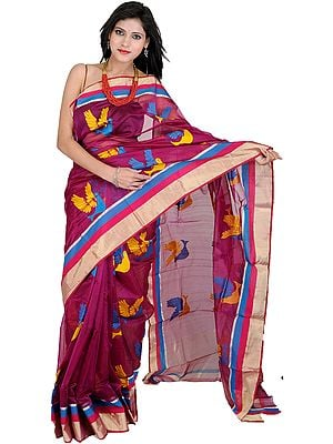 Grape-Wine Designer Chanderi Sari with Hand-woven Birds