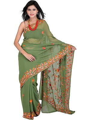 Elm-Green Sari from Kashmir with Ari Embroidered Flowers
