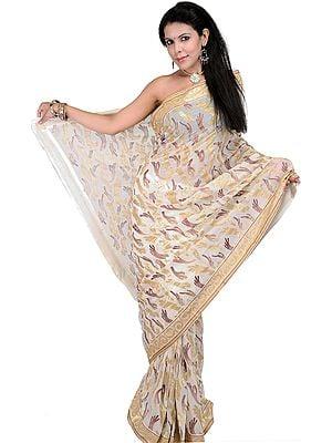 Ivory Designer Sari with Metallic Thread Embroidered Sequins