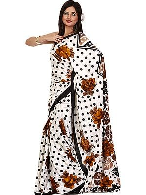 Ivory Sari with Large Printed Roses and Polka Dots