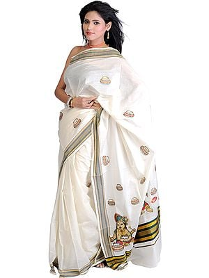 Ivory Kasavu Sari from Kerala with Embroidered Turbanned Bal Krishna Eating Butter