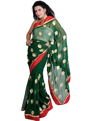 Designer Sari with Metallic Thread Embroidered Paisleys and Patch Border