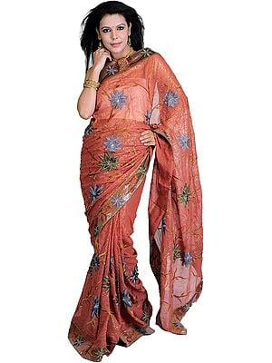 Redwood Shimmering Sari with Embroidered Flowers All-Over