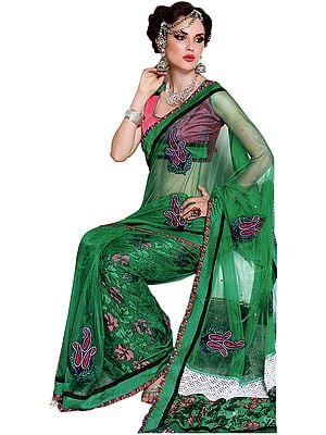 Dynasty-Green Wedding Sari with Patch-work and Self Weave