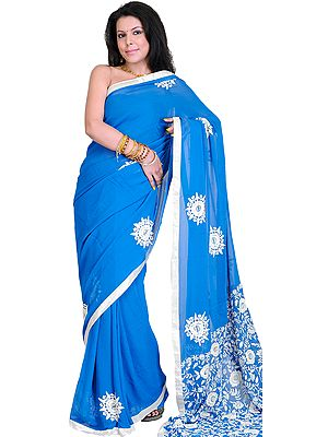 Imperial Blue Hand Embroidered Phulkari Sari from Punjab