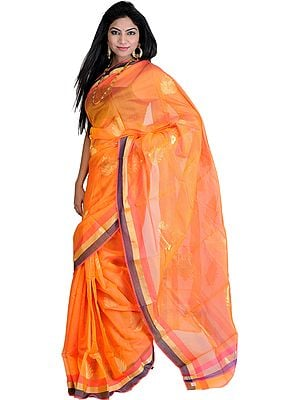 Orange-Pearl Chanderi Sari with Hand Woven Golden Leaves
