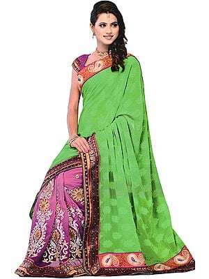 Green-Magenta Wedding Sari with Ari Embroidered Patch Border