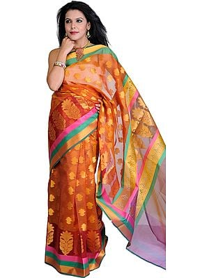 Copper Brown Banarasi Sari with Woven Booties and Tri Color Border