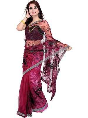 Shimmer Sari with Sequins and Crewel Embroidery All-Over