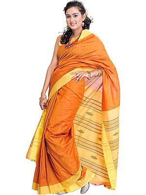 Plain Flame-Orange Handloom Sari from Orissa