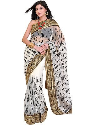 Bright-White Wedding Sari with Thread Embroidered Leaves and Patch Border