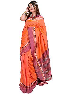 Fusion-Coral Ikat Sari Hand-Woven in Pochampally