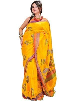 Beeswax-Yellow Banarasi Sari with Hand Woven Lotuses