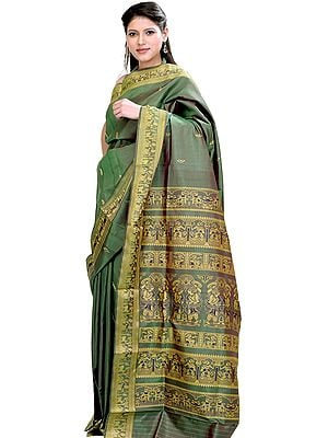 Vineyard-Green Baluchari Sari from Bengal Depicting Mythological Episodes from Ramayana