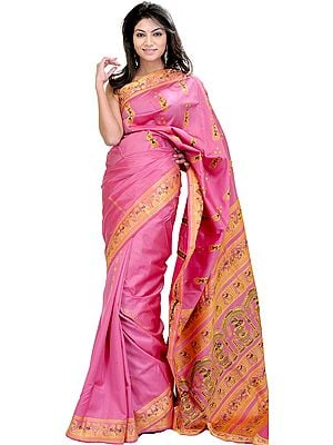 Moonlite Mauve Baluchari Sari with Hand-Woven Dancing Apsaras on Aanchal