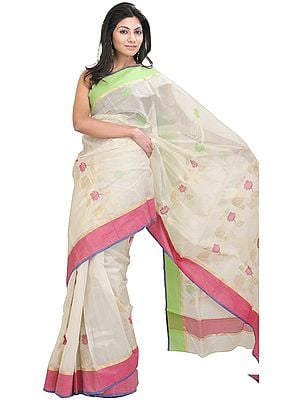 Winter-White Chanderi Sari with All-Over Woven Flowers