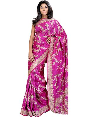 Deep-Orchid Wedding Sari from Banaras with Hand-Embroidered Beads and Sequins