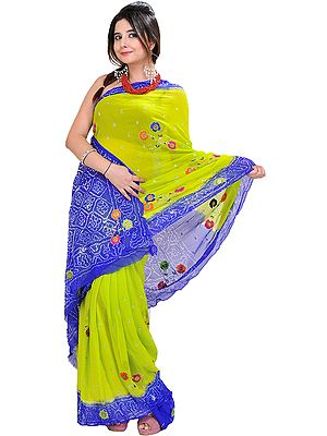 Parrot-Green and Blue Bandhani Tie-Dye Sari from Rajasthan with Embroidered Flowers and Sequins