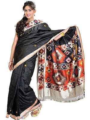 Jet-Black Pochampally Sari with Ikat Weave on Border and Anchal