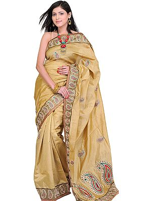 Mustard-Gold Wedding Sari from Banaras with Zardozi Embroidered Paisleys