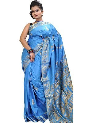 Swedish-Blue Baluchari Sari from Bengal Depicting Mythological Episodes