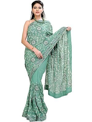 Sea-Green Wedding Sari with Thread Embroidered Flowers and Sequins