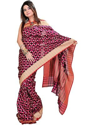 Beetroot-Pink Banarasi Sari with Hand-Woven Lotus and Golden Border