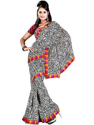 Black and White Printed Sari from Surat with Patch Border