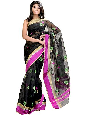 Jet-Black Chanderi Sari with Woven Flowers in Multi-Colored Thread