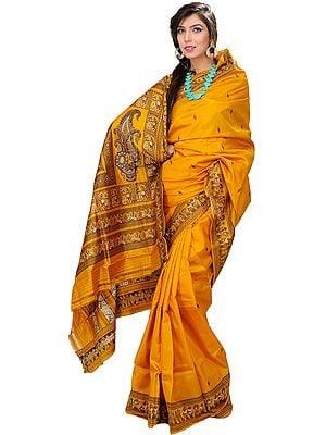Sunflower Baluchari Hand-woven Sari Depicting Mythological Episodes
