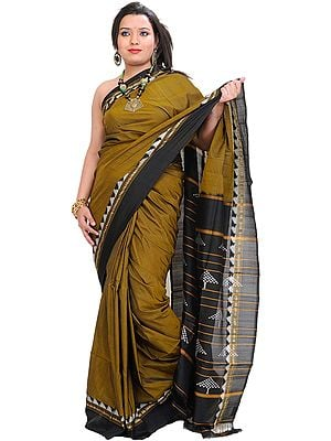 Dull-Gold Plain Patola Sari from Pochampally with Ikat Weave on Anchal