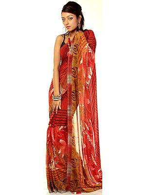 Sharon-Rose Floral Printed Sari from Surat